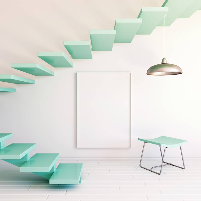 Interior mockup illustration with decor, 3d render, white wall with blank board and staircase